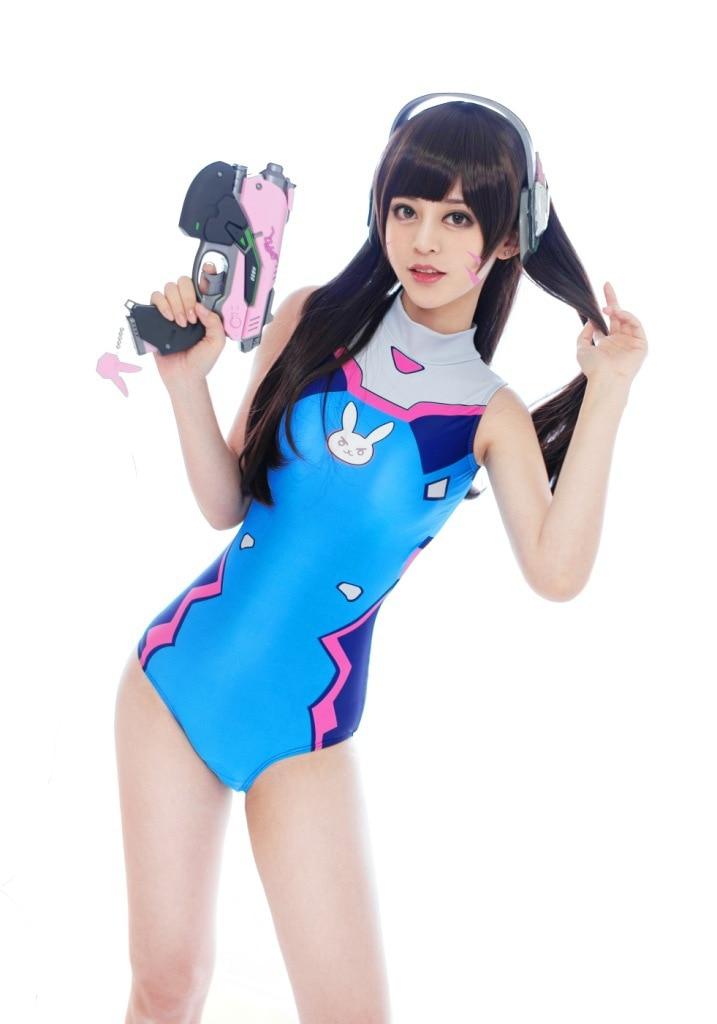 Game OW Cosplay D.va SUKUMIZU Spandex Swimsuit DVA Cosplay Costume Anime Cosplay Swimwear One-pieces Swimsuits