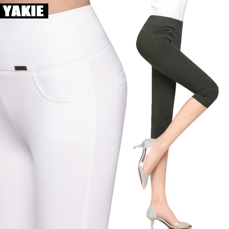 2017 Summer Style Women   pants     capris   woman candy color slim skinny   capris     pants   cotton skinny   capris   for women plus size 4XL
