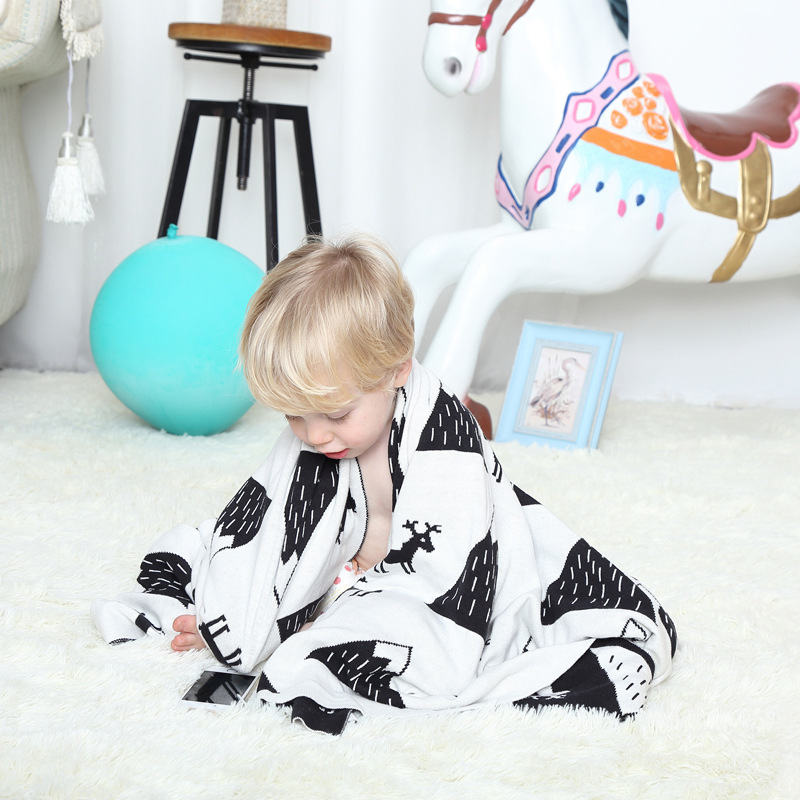 US $21 99 |Free shipping gift Multi purposed snow mountains deer pattern  Reversible Knitted Baby Kids Throw Blanket wrap Photography Props-in Throw