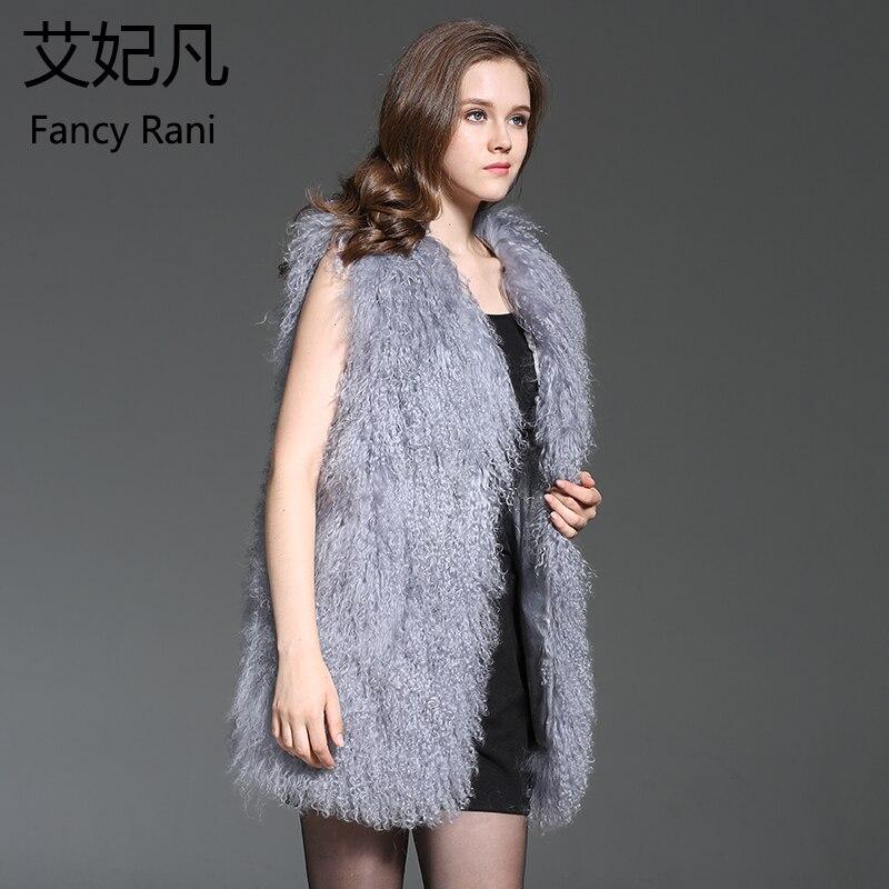 Mongolie Femelle Gris Hiver Élégant Manteau D'agneau Réel Véritable Veste Femmes Outwear Longue Au Gilet Mouton De Fourrure Laine Chaud Rx8UAwnHqf