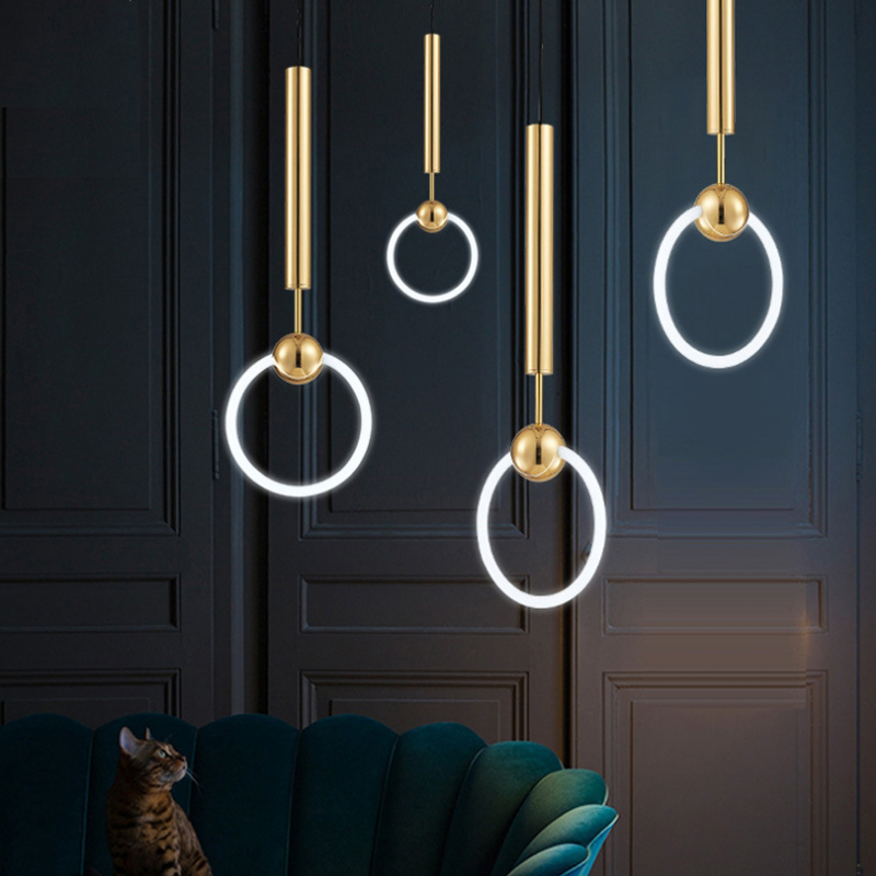 Simple modern hanging lamps Iron Ring Golden pendant lighting for restaurants Glass ring T6 cord pendant lampSimple modern hanging lamps Iron Ring Golden pendant lighting for restaurants Glass ring T6 cord pendant lamp