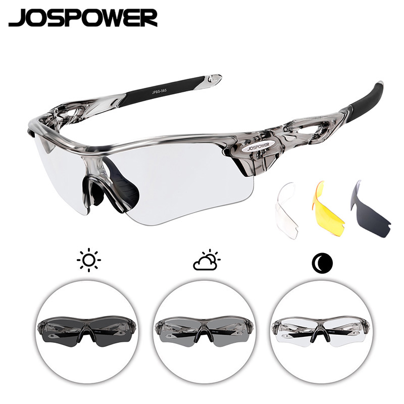 JOSPOWER New Photochromic Sports Glasses Men Women Windproof Running Sunglasses Bike Cycling Polarized Goggles Gafas 3Lens|sunglasses bike cycling|sunglasses bike|cycling goggles - title=