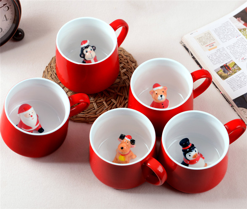 Hot Sale Creative Red 3D Animal Cup Ceramic Mug 400ml Cute Cartoon Couple Coffee Milk Tea Cup New Christmas Favors Water Cups