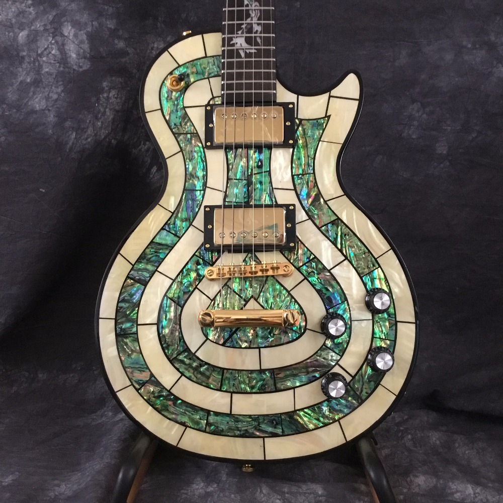 Free Shipping Custom Shop Abalone Inlay Electric Guitar with Dragon Inlay Customized on Fretboard Available for bass fretboard markers inlay sticker decals twisted snake