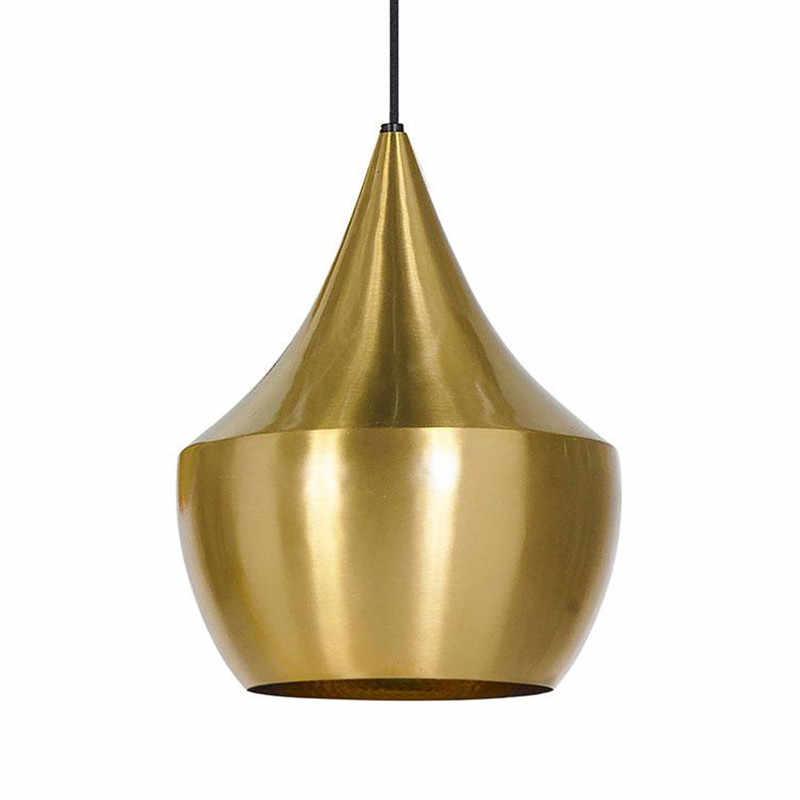 IKVVT Золотой Алюминиевые висячие лампы Освещение в помещении абажур светильника Ресторан гостиная Кофе бар деко подвесной светильник с E27