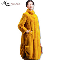M Y FANSTYMink Coat Female Whole Mink 2017 New Collar Collar Loose Pure Color Long Section