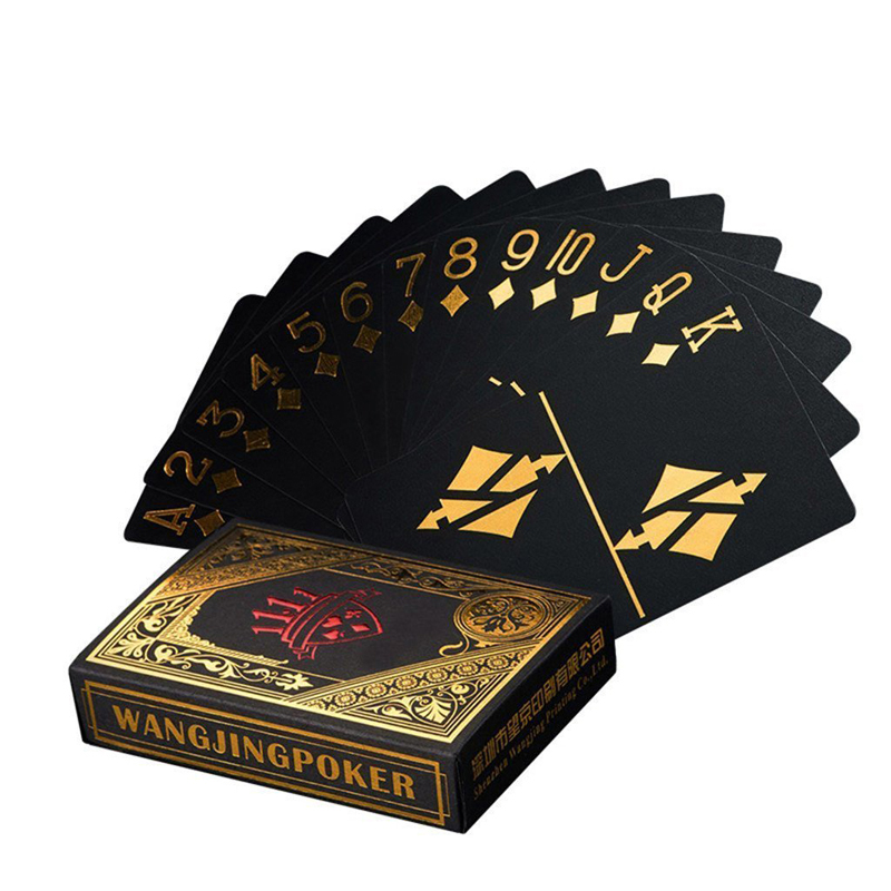 132162aa2e35e Водонепроницаемый Пластик покер черный ПВХ Набор Игральных Карт цвета:  золотистый, серебристый Фольга покерной колоды