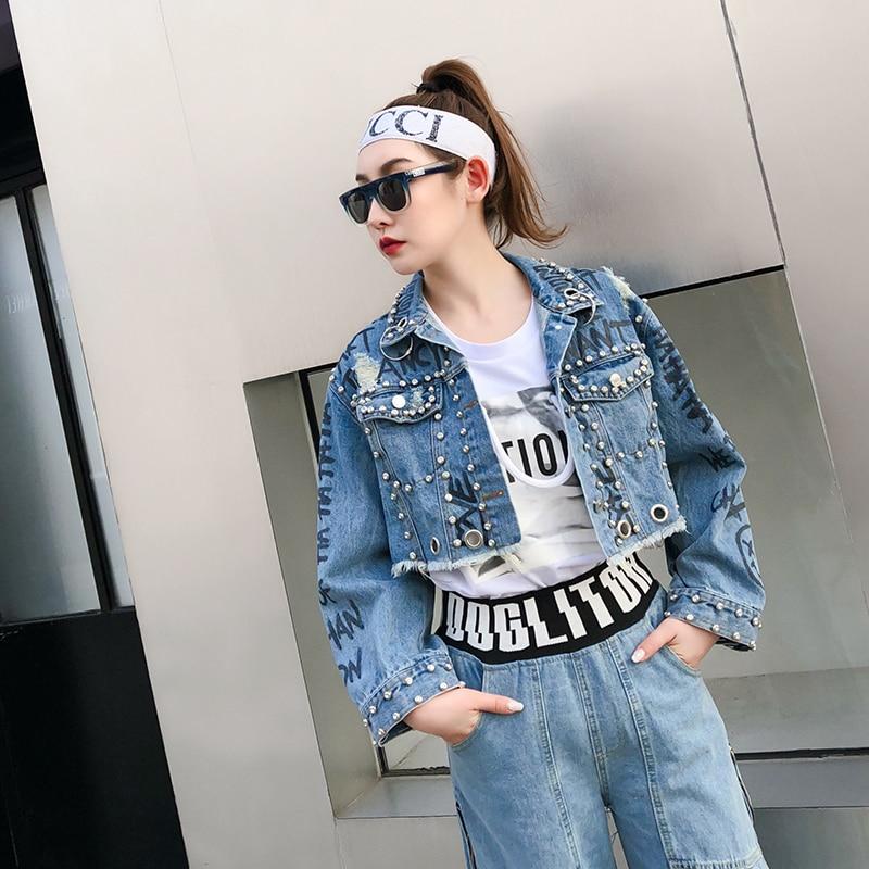 Anello Giacca Alta Vita Donne Delle Graffiti Pelo Jeans Ferro Allentato Di Corto Stile Rivetto Nuovo Lettera Primavera qfx1TIv1