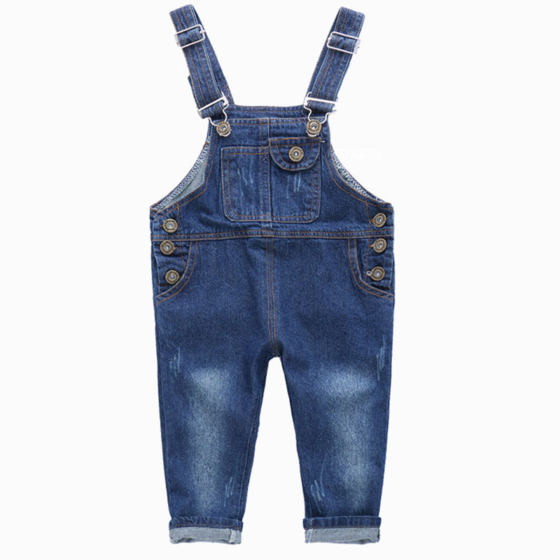 Denim Overalls Girls Boys Jeans Fashion 2-10Y Baby Boys Girls Jumpsuit Brand Pants Kids Clothes Children's Jeans SC413