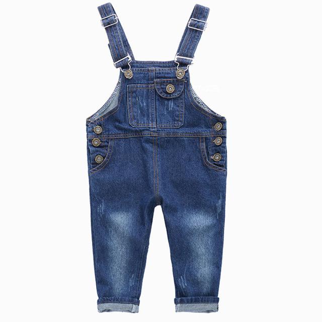 2016 del Dril de algodón Niñas Niños Jeans Moda 2-10Y Muchachas de Los Bebés Mono Pantalones Vaqueros de Marca Pantalones Niños Ropa Niños SC413