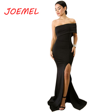 Women's Maxi Dress Sexy Chic Oblique Collar One-shoulder High Waist Dresses Split Long Party Dress