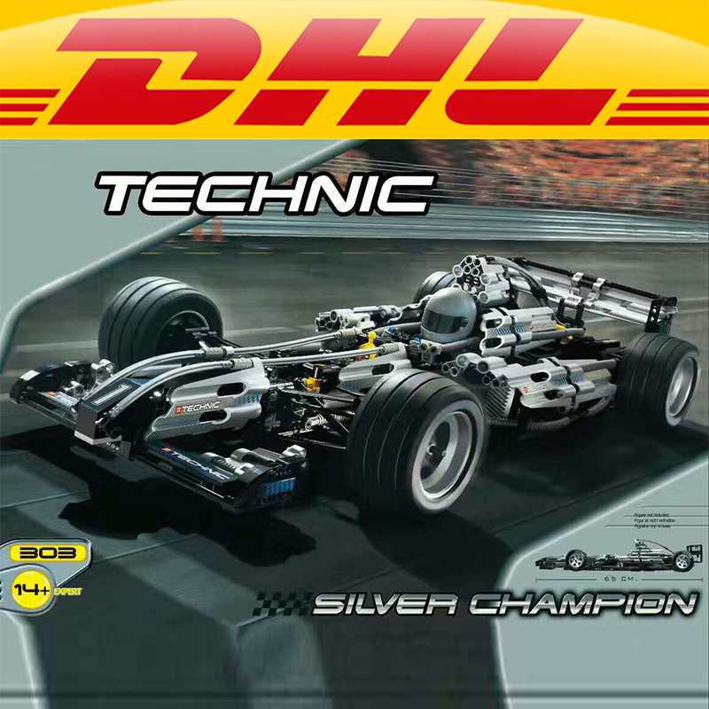 Yile 303 The Ultimate Sliver Champion F1 Racing Compatible With 8458 Educational Building Block car toys for children