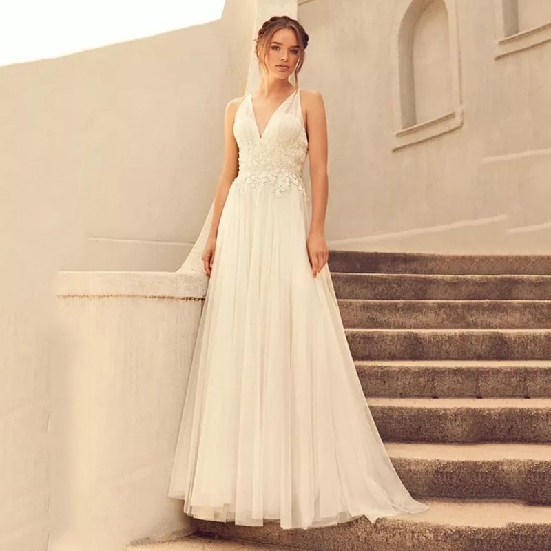 Eightree Embroidered Appliques Wedding Dress Mesh Tulle Gathered V-neckline Midriff Cross-over Spaghetti Straps Back Bride Gown
