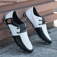 2019 New Spring Autumn Black White PU Leather Shoes Men's Business Shoe Man Breathable Casual Shoes Moccasins Boat Flat Shoes цена в Москве и Питере