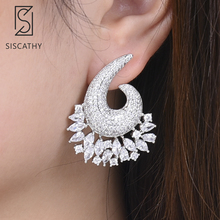 SISCATHY Trendy Big Stud Earrings For Women Full Cubic Zirconia Inlaid Fashion Jewelry Statement boucle doreille