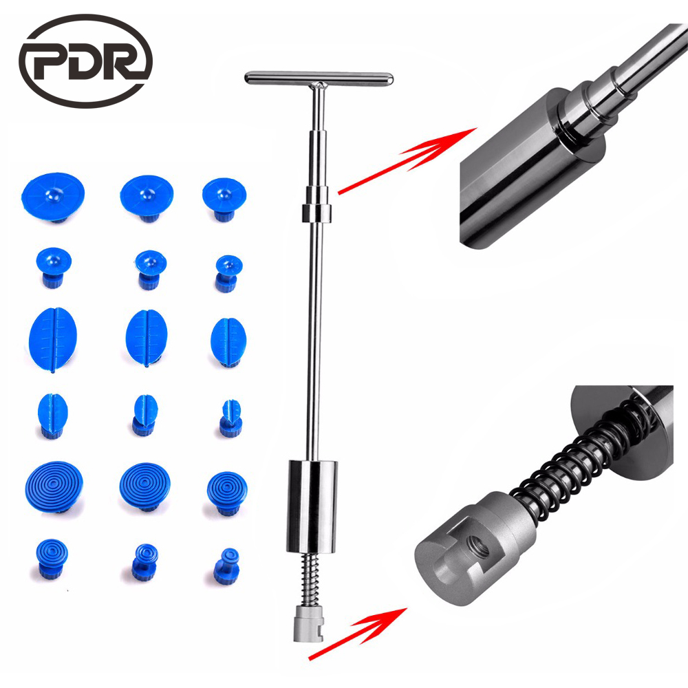 PDR Tools Slider Hammer Dent Puller Kit Suction Cups Glue Tabs Paintless Dent Repair Auto Repair Tool Kit Ferramentas 19 pcs/set