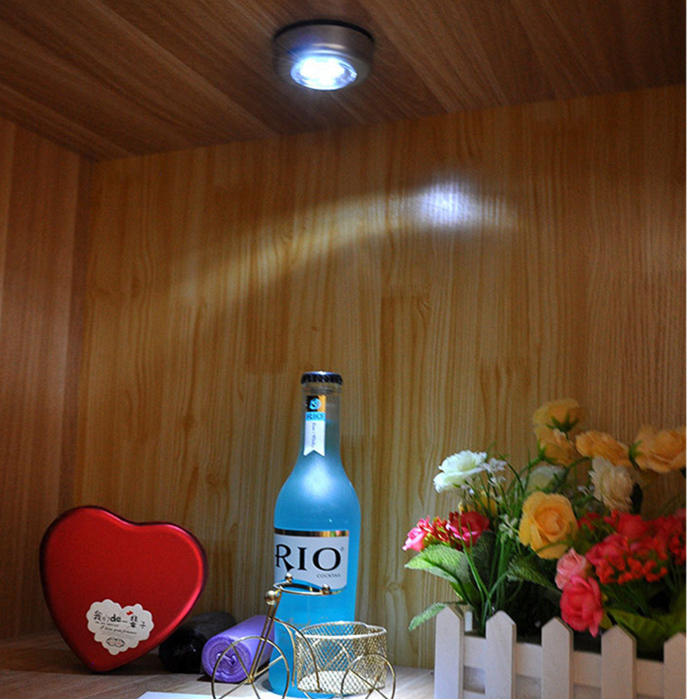 COB Touch Light Round LED Under Cabinet Light Wall Lamp Wardrobe Cupboard Closet Light Emergency Kitchen Night Light For Home