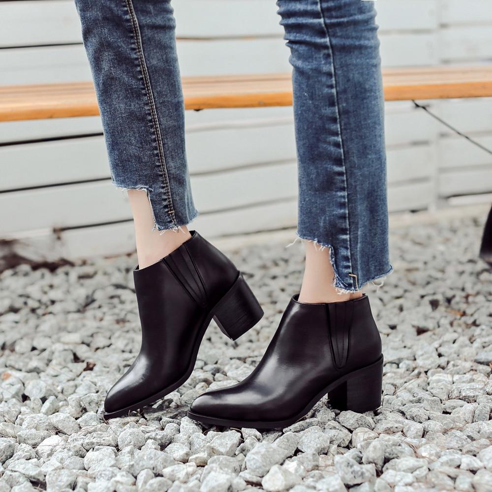 Donna-in wanita boot kulit asli wanita kulit sepatu kaki menunjuk - Sepatu Wanita - Foto 3