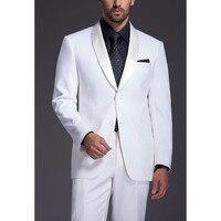 Brand New Mens Suits Groomsmen Shawl Satin Lapel Groom Tuxedos White Wedding Best Man Suit Jacket+Pants