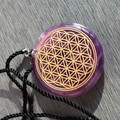 35*6mm Amethyst Quartz Crystal Flower of Life Natural Carved Healing Pendant Fashion Jewelry For Women