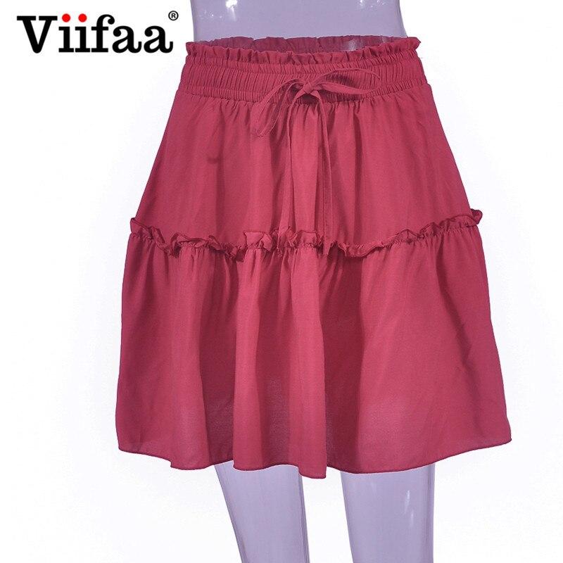 f6b7ae42e9 2019 Viifaa Pleated Mini Skirt Green Casual High Waist Ruffle Skirts ...