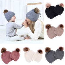 POP Mom Mother Baby Turban Knot Pom Bobble Hat Kids Girl Boys Winter Warm Beanie Caps(China)