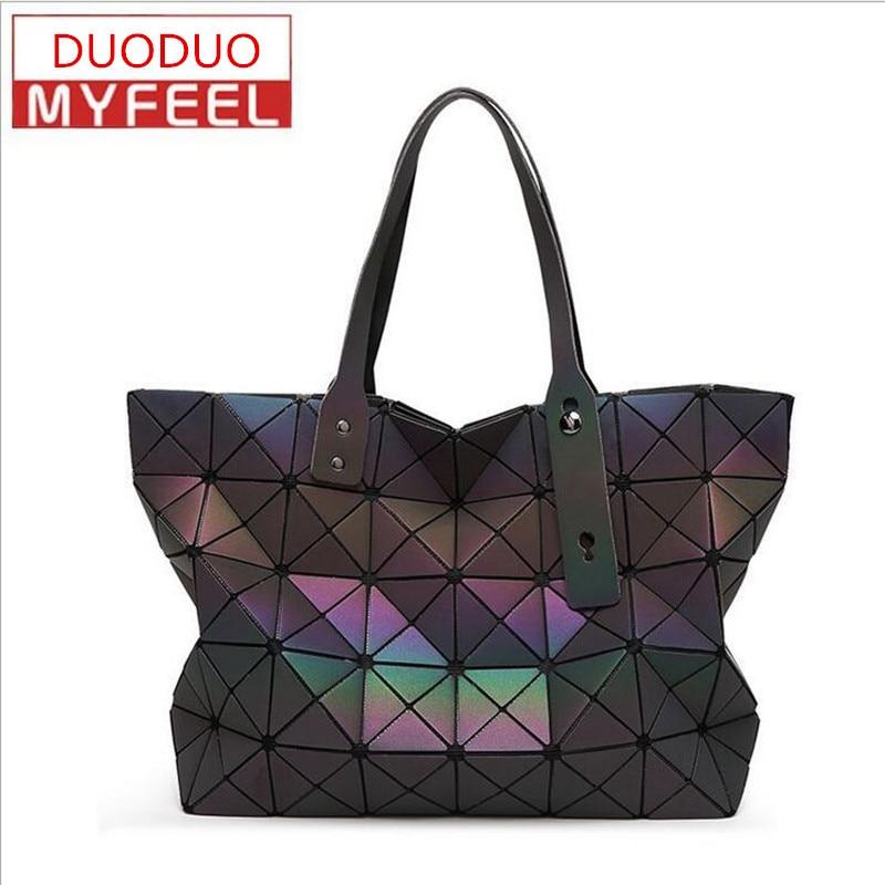 2017 Hot Sale BAOBAO Bag Folding Handbag Fashion Women Bag Shoulder Bag Casual Tote Women Tote Luminous geometry Double Big bag