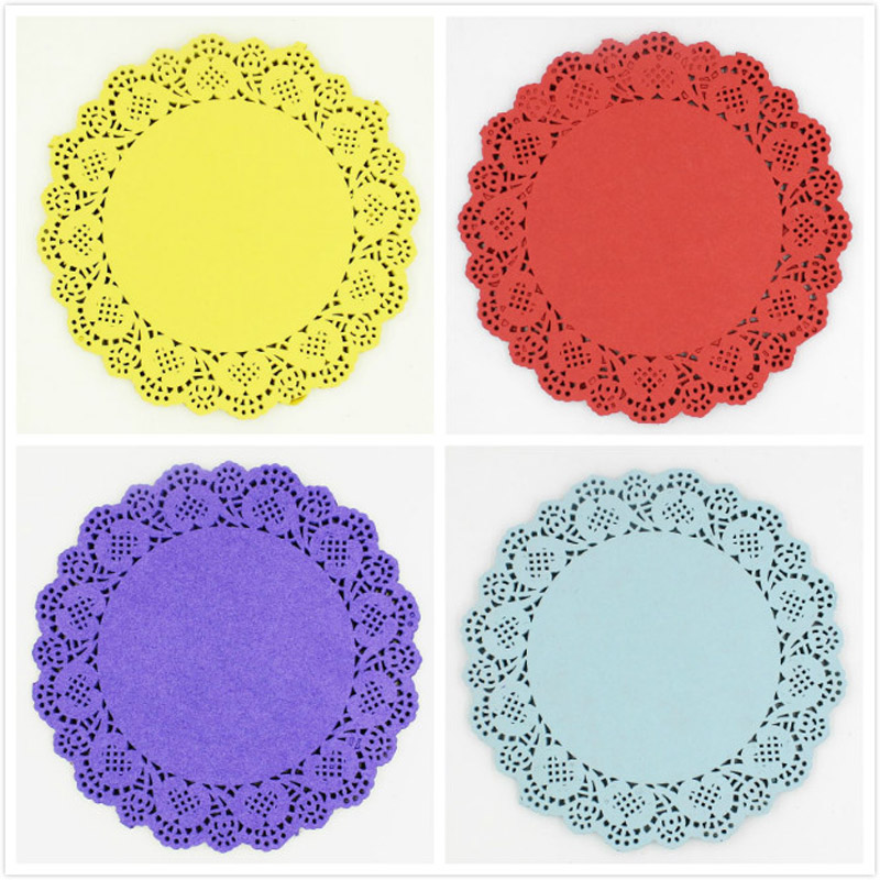 6 5 u0026 39  u0026 39  colored flower lace round paper doilies placemat craft doyleys christmas birthday