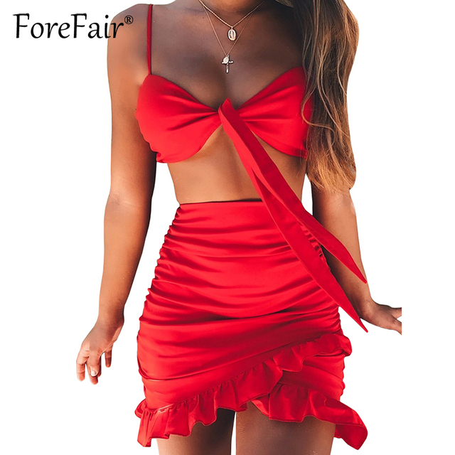 Forefair Red 2 Piece Set Women Summer Skirt Suits Sexy Backless Bow Knot Camisole Vest Bra Crop Top And Ruffles Hem Skirt Sets