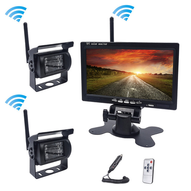Accfly Dual Wireless car reverse reversing backup rear view camera for trucks bus Caravan Van Camper RV Trailer with Monitor