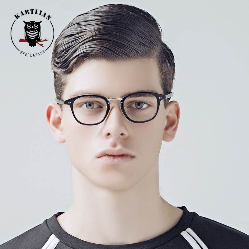 Kartlian Men Women spectacles Round acetate eyewear Eyeglasses retro Optical Frame Prescription Glasses Clear Lens