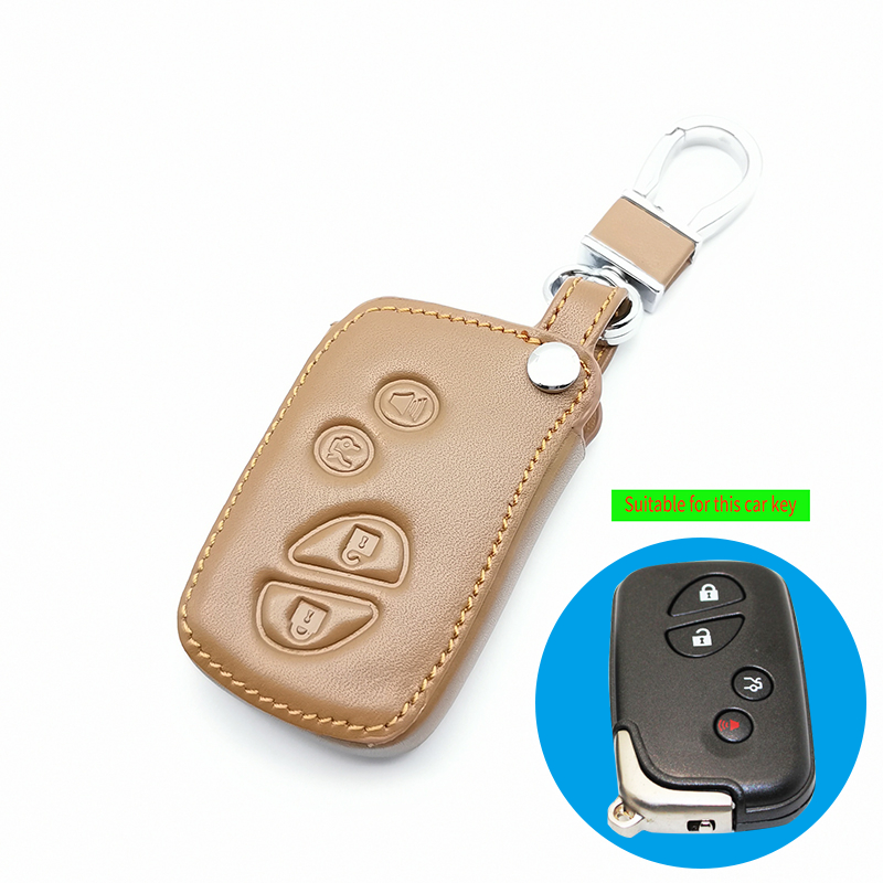 Genuine Leather <font><b>Key</b></font> Fob <font><b>Case</b></font> Cover For <font><b>Lexus</b></font> IS250 ES240 ES350 RX270 RX350 <font><b>RX300</b></font> 4 Buttons Remote Control Keyless Holder image