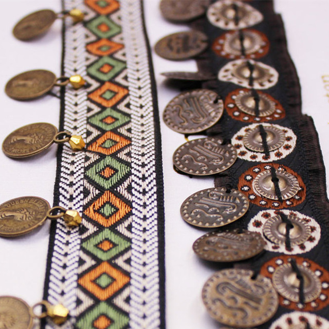 1Yards Width 3CM Copper Tassel Lace Trim Bohemian Cotton Fabric Ribbon Fringe Drop Handmade Sewing  Clothes Curtains Accessories