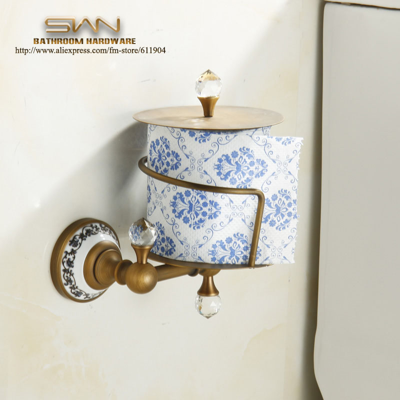 Free Shipping Copper Crystal Bathroom Toliet Tissue Paper Box Antique Brass paper Roll Holder Bathroom Accessaries