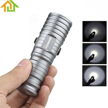 500LM Silver SKYWOLFEYE  CREE XML T6 LED CR123A 3 Mode Compact Rechargeable Flashlight