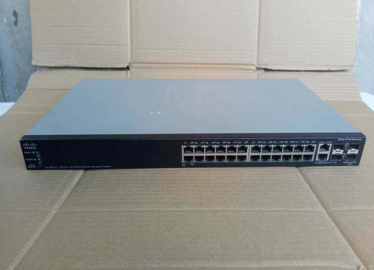 Used SF500-24 24 Mbps + 2 Port Gigabit + 4 Fiber Port 3 Layer Stackable Management Switch