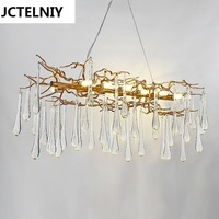 Living Room Pendant Light French Crystal Led Branches Lighting Lamps