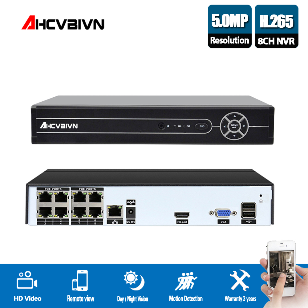 AHCVBIVN 4/8CH 5 MP POE NVR System H.264 H.265 Security IP Camera Video Surveillance P2P 5MP Network Video Recorder HDMI VGAAHCVBIVN 4/8CH 5 MP POE NVR System H.264 H.265 Security IP Camera Video Surveillance P2P 5MP Network Video Recorder HDMI VGA