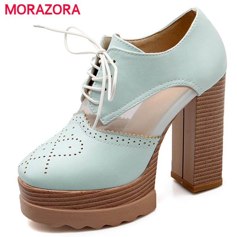 MORAZORA Women PU Soft Leather Pumps Platform Shoes Fashion Elegant Spuer Heels Shoes 11.5cm Spring Autumn Single Shoes