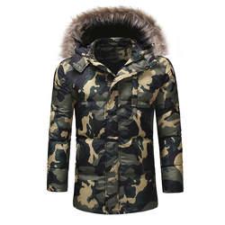 Зимняя теплая куртка Мода Новое поступление мужская камуфляжная одежда пальто со шляпой крутые куртки пальто Теплые уличные мужские топы