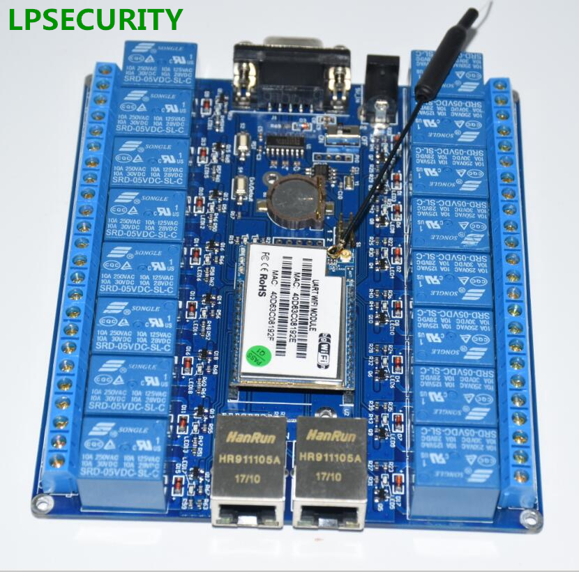 LPSECURITY LAN WAN Smart Home Hotel Light Network Control Wireless Relay Switches P2P WIFI Module 16 Relay Remote Control Board