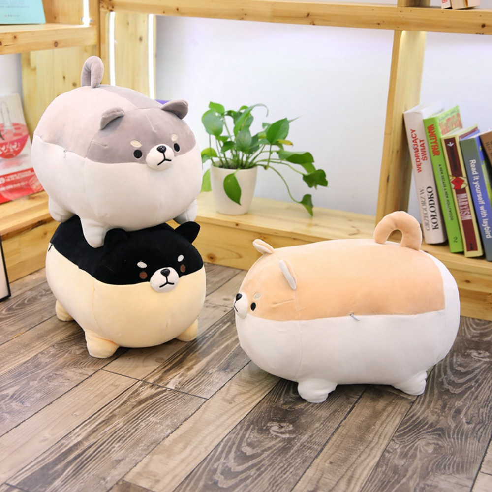 1PC New 40cm Cute Shiba Inu Dog Plush Toy Stuffed Soft Animal Corgi Chai Pillow Christmas Gift for Kids Kawaii Valentine Present 1pc 55cm cute fat shiba inu dog plush pillow stuffed soft cartoon animal toys lovely kids baby children christmas gift dolls