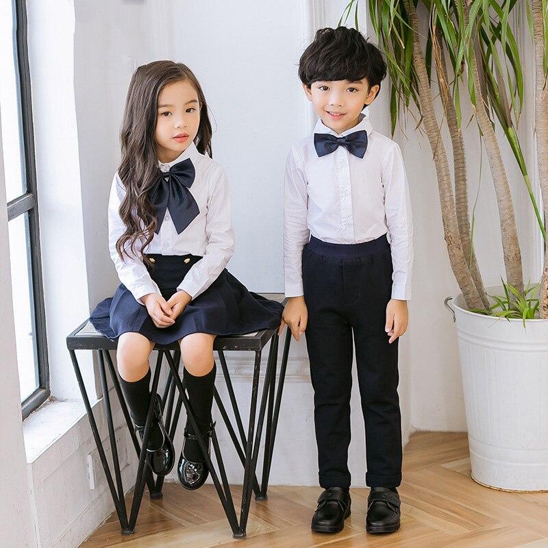 Children Korean Japanese Student Formal Preppy School Uniforms for Girls Boys Kids Shirt Top Pleated Skirt Pants Tie Clothes W49