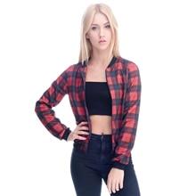 Zohra 2016 New Spring Women Coats RED font b TARTAN b font Jacket Bomber Famale Short