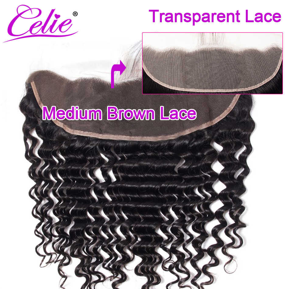 Celie Ear To Ear Lace Frontal Closure Brazilian Deep Wave HD Transparent Frontal Closure Pre Plucked Human Hair Frontal