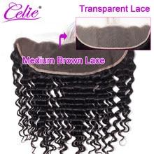 Perruque Lace Frontal Closure wig brésilienne – Celie, cheveux naturels, Deep Wave, oreille à oreille, pre-plucked, Transparent HD