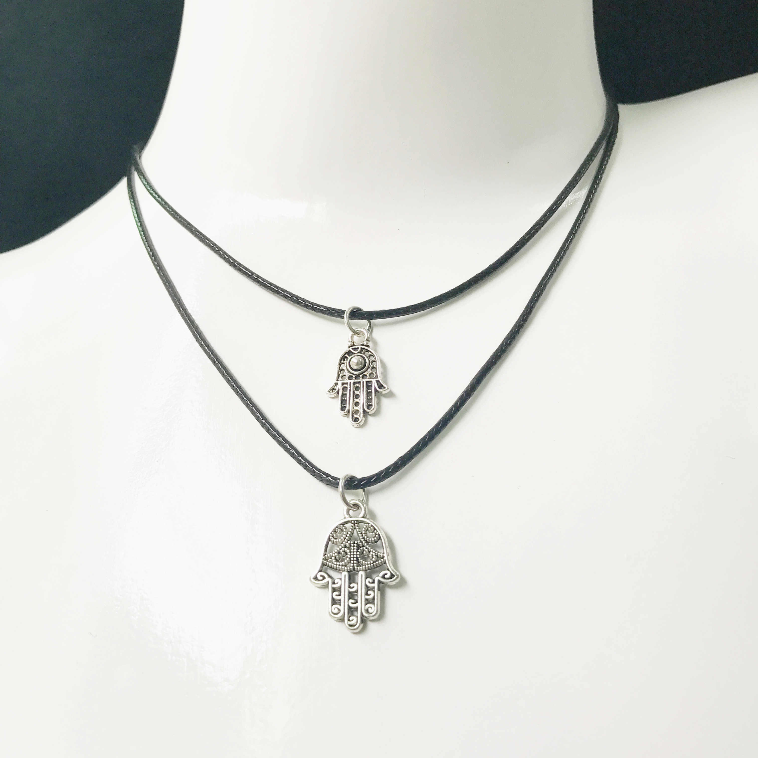 Panas Kepribadian Gothic Cross Kunci Tali Kulit Kalung Fashion Love Leaf Strip Lilin Tali Kalung Wanita Hadiah Natal