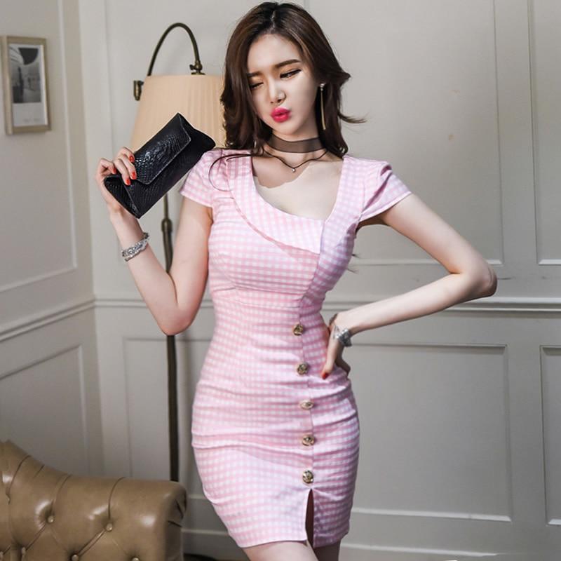 2018 Summer Plaid Pink Cloth Women Bodycon Button Short Sleeve Mini Sexy Office Work Dress