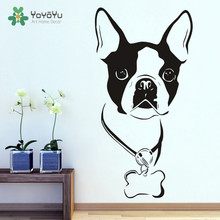 Cute Boston Terrier Vinyl Removable Mural Dog Head  Wall Sticker Art Home Decor For pet Room NY-12