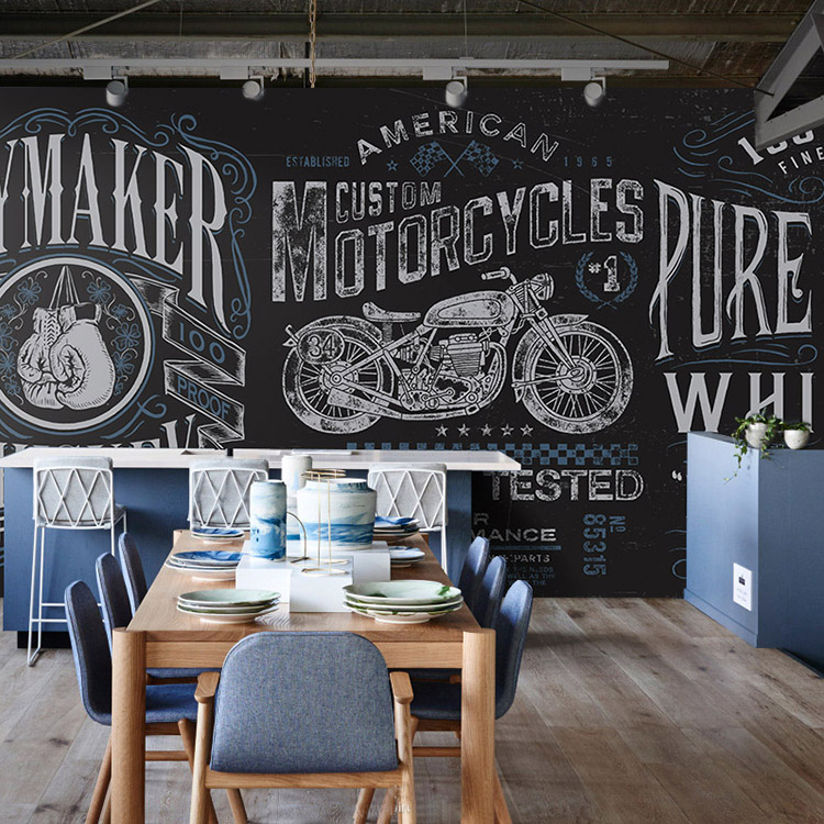 Online get cheap motorcycle wallpaper for Cafe mural wallpaper
